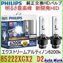 フィリップス 純正交換HIDバルブ D2S D2R 共通設計 エクストリーム アルティノンHID 6200K 3300lm PHILIPS 85222XGX2 X-treme Ultinon HID D2S/R