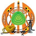 ショッピングうきわ 4人乗りトーイングチューブ バナナボート マリンスポーツ WOW (ワオ) ビッグボーイ レーシング 3点セット ロープ・ハンドポンプ付
