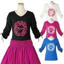 【フラダンス】フラワーリーフシャーリング7分袖Tシャツ TK3201-3523▼フラTシャツ ハワイアン
