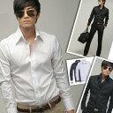 シャツ メンズ 長袖 長袖シャツ 2カラー ドットプリントデザインシャツ ブラック ホワイト 黒 白 メンズファッション■ビズポロ【楽ギフ_包装】