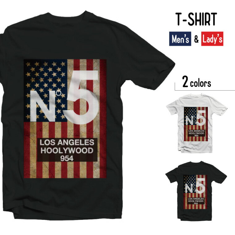 Tシャツ メンズ 半袖 レディース 半袖 おしゃれ ブラック ホワイト N°5 アメリカ 国旗 USA LOS ANGELS HOLLYWOOD 954 ロサンゼルス ハリウッド アニマル