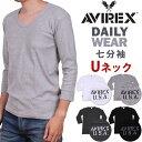 リブUネック 七分袖TシャツAVIREX/アビレックス/アヴィレックス/デイリー/DAILY WEAR612322