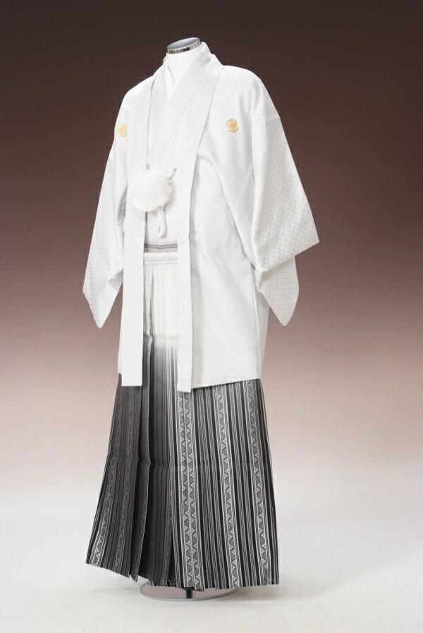NO5【紋付袴レンタル】【白:・銀エマ縞】【紋服...の商品画像