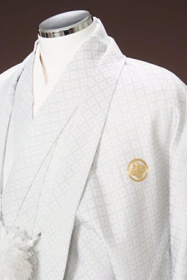 NO5【紋付袴レンタル】【白:・銀エマ縞】【紋...の紹介画像2