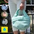 【在庫商品】【バッグ】バスケットがま口トートバッグ リボン付【コットンメッシュ】