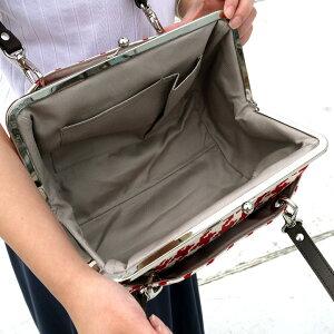 【バッグ】TAWARA型がま口ボストンバッグ【帆布・バードチェック】<がまぐち/手作り/バッグ/和雑貨/京都/ドラム型>
