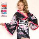 【cwa16】0410着物風ミニ サテン よさこい 衣装 和柄 大きいサイズあり M L イベント
