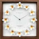 【時計】プルメリア クロック/掛け時計 ウォールクロック インテリア 壁掛け ギフト プレゼント 新築祝い おしゃれ 飾る かわいい アート ハワイアン 造花 Mサイズ 巣ごもり