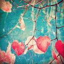 【アートパネル】Andrekart Photography 秋のピンクのハートと青い空/インテリア 壁掛け 額入り 油絵 ポスター アート アートパネル リビング 玄関 プレゼント モダン アートフレーム おしゃれ【L】