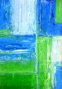 アートパネル T30 Galler 青と緑のアートペイント/インテリア 壁掛け 額入り 額装込 風景画 油絵 ポスター アート アートパネル リビング 玄関 プレゼント モダン アートフレーム おしゃれ 飾る 3Lサイズ