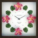 時計 壁掛け ハワイアン クロック プルメリア ピンク/掛け時計 置き時計 ウォールクロック インテリア 壁掛け 時刻 ギフト プレゼント 新築祝い おしゃれ かわいい アート Mサイズ