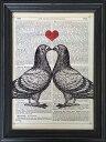 【アートフレーム】Marion McConaghie Pigeons in Love/インテリア 壁掛け 額入り 油絵 ポスター アート アートパネル リビング 玄関 プレゼント モダン アートフレーム おしゃれ【M】