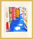 絵画 壁掛け ヴェネツィアとその潟(はりたつお)/インテリア 壁掛け 額入り 額装込 風景画 油絵 ポスター アート アートパネル リビング 玄関 プレゼント モダン アートフレーム おしゃれ 飾る Lサイズ
