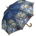 ショッピング花瓶 傘 名画木製ジャンプ傘(ルノワール「大きな花瓶」) おしゃれ レディース 長傘 レイングッズ 雨の日 おでかけ 雨 雨傘 ワンタッチ 58cm 大きめ 5Lサイズ