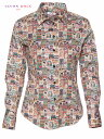 ショッピングフランス 柄シャツ レディース 長袖 プリントシャツ カジュアルシャツ シャツブラウス レトロ デザイン 派手 フランス イタリア ポップアート l92ad1773labels CotonDoux コトンドゥ