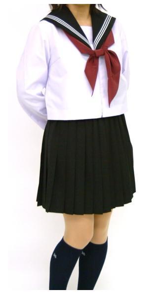 紺 長袖セーラー服 上着のみ 145cm〜170cm 紺衿白ライン【長袖】【定番】【国内縫製】【日本製】オーダーセーラー承ります