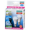 オーム電機 OHM LED電球 ミニクリプトン形 E17 60W形相当 昼光色 密閉器具 断熱材施工器具対応 820lm 全長78mm 2個入 LDA7D-H-E17IH212P