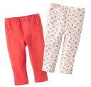 【NB,3M,6Mのみ】カーターズ (Carter's)パンツ2枚組セット(ピンク&フラワー)
