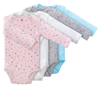 ★ peace of Carter's genuine (Carter's) long-sleeved body suit 4-disc set ( Dots & Flower romper Bodysuit )