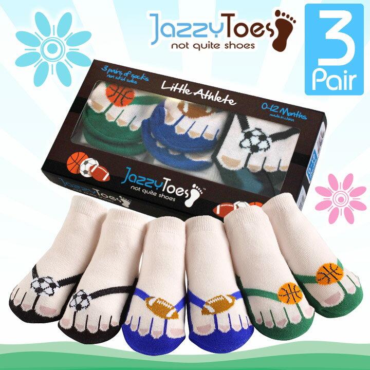 ジャージートー【Jazzy Toes】 出産祝いにオススメ!赤ちゃん用靴下3足セット(リトルアスリート)