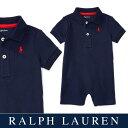 ラルフローレン【Ralph Lauren】スムース編みコットンロンパース(ネイビー)【あす楽対応】