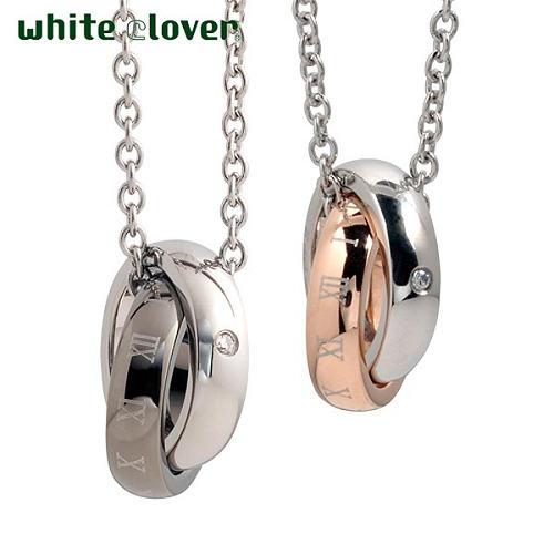 white clover【ホワイトクローバー】 ペア ネックレス 金属アレルギー対応 ダイヤモンド X ローマ リング 2連 ステンレス ゴールド ブラック アレルギーフリー 4SUP021GO-GU-P