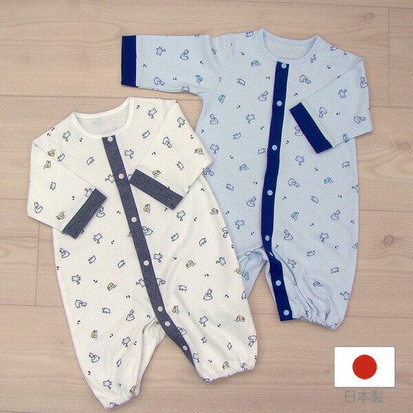 日本製ツーウェイオール(兼用ドレス)ベビードレスオール秋冬スムース白くま柄男の子2595111