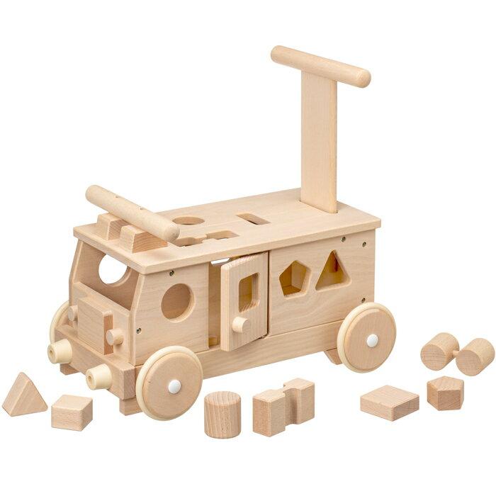 森のパズルバス 乗用玩具 押し車 木製 足けり乗用 おもちゃ 子供用乗り物 ブロック・パズル 知育玩具 【平和工業】