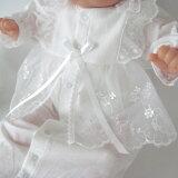 お宮参り 新生児赤ちゃんの退院時に!ベビードレス クマさん刺繍柄 お帽子付き2点セット!