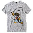 【DISNEY】(ディズニー) ミッキー カウボーイ グレー (ミッキー ミッキーマウス Disney ディズニー アメカジ 半袖 Tシャツ キャラクター) back drop 【 】
