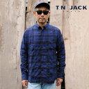 ショッピングアメカジ 【T.N JACK】(ティーエヌジャック) Stretch Cotton BD Shirt (ブルー) / ストレッチコットン ボタンダウンシャツ メンズ アメカジ渋谷 バックドロップ 渋谷の老舗アメカジショップ back drop 日本製 メイドインジャパン 送料無料