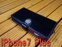 「iPhone 7 Plus」アイフォン7プラス 専用 横型 手帳型ケース 馬具職人 ハンドメイド 完全一点もの 総手縫い 栃木レザー社  黒革×赤 ベンズサドルレザー製