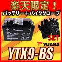 【バイク用メッシュグローブ付】 台湾 YUASA ユアサ YTX9-BS 互換 GTX9-BS FTX9-BS DTX9-BS スティード400 STEED XJR400 ZRX400 初期充電済 即使用可能