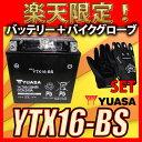 【バイク用メッシュグローブ付】 台湾 YUASA ユアサ YTX16-BS 互換 GTX16-BS FTH16-BS DTX16-BS バルカン1500クラシックゼファー1100RS 初期充電済 即使用可能