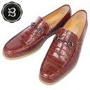 レザービットローファー クロコダイル型押しブラウン ブラックビット クレープソール 国産 牛革 革靴 紳士靴 BajoLugo バジョルゴ a42s