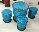 ◆ガラスモザイクガーデンテーブル&スツール4脚5点セット・ブルー◆【アジアンテーブル・モザイク調エクステリア・インテリアお庭・アジアンガーデン】