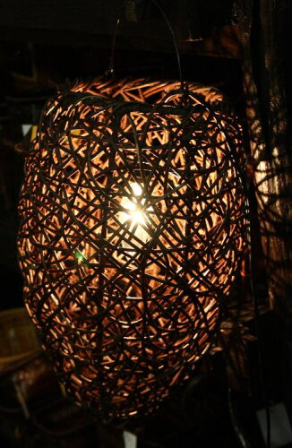 ◆ラタン吊り下げランプ アーモンド型◆〜電球&配線コード・セット価格〜(ペンダントランプ・インテリアランプ)