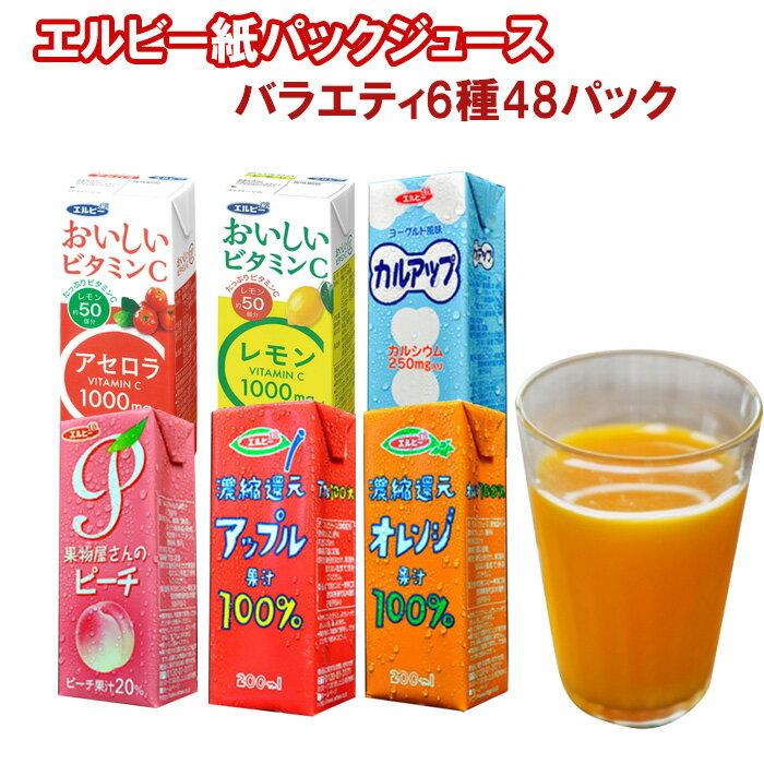 ソフトドリンク6種類48本セット(アセロラ・レモン・カルアップ・オレンジ100%・アップル100%・