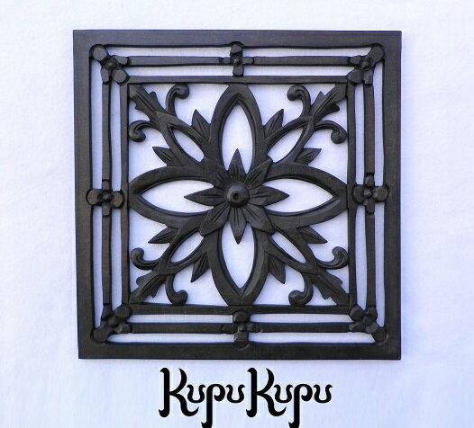 木製彫刻レリーフ30×30(C)花MDF木彫りの壁掛けインテリアレリーフ欄間木製彫刻アート絵画ウッド