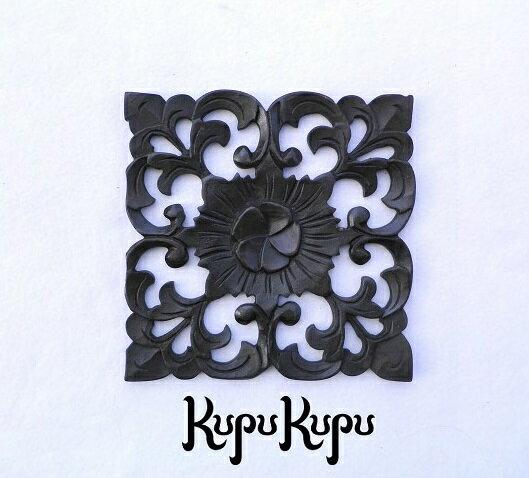 木製彫刻レリーフ18×18プルメリアMDF木彫りの壁掛けインテリアレリーフ欄間壁飾り木製彫刻アート絵