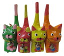 4色カラーバリ猫4匹セット(短尾)オレンジ緑黄ピンク【バリ・アジアン雑貨バリパラダイス】