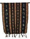 ストライプ柄イカット53*110黒×黄×紺×ブラウン系【バリ・アジアン雑貨バリパラダイス】