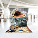 <送料無料> モササウルス 【TRA-R023】 恐竜シリーズ レンタルトリックアート 簡単イベント用フォトスポット トリックアート フォトスポット レンタル 簡単組立 イベント 装飾用 恐竜 モササウルス 船 航海 嵐 びっくりアート