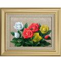 手描き 油絵 額入り油彩画 バラ2 F6サイズ 薔薇 赤 白 黄 肉筆画 額 額入り絵画 アート フレーム 花 花の絵 安田英明 幅560mm×高さ470mm