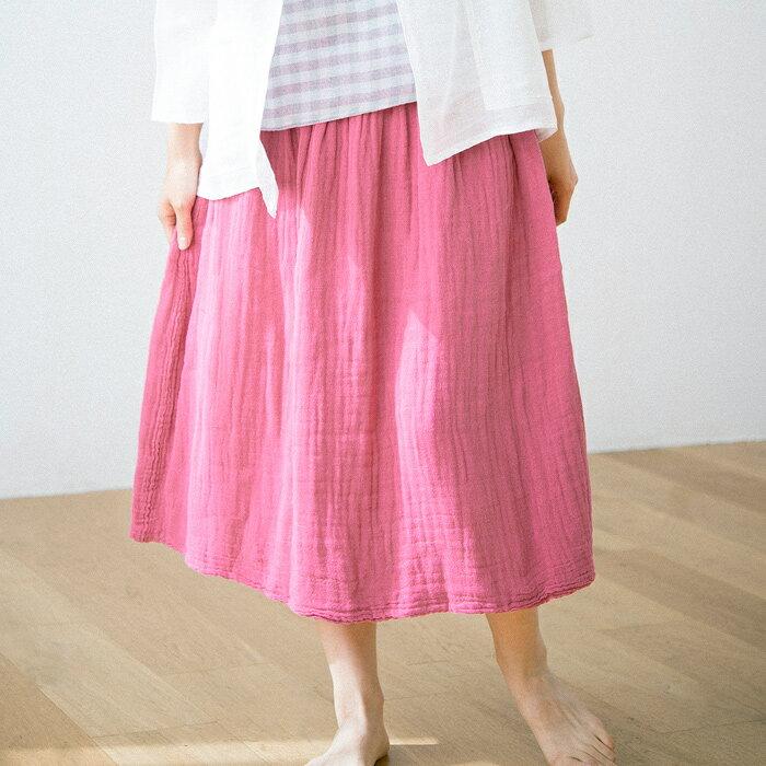 [幡INOUE] かやスカート [ギフト包装対応 奈良 蚊帳 綿100% 日本製 全6色 ロング ギャザー ウエストゴム 井上企画・幡 BAN INOUE]