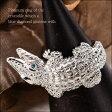 【送料無料】瞳にブルーダイヤモンドが輝くリアルで豪華なワニリング(Pt900) 【リングサイズ13号】【150110coupon500】