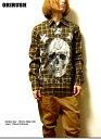 期間限定 シャツ メンズ チェックシャツ スカル チェック カジュアル 長袖 【MOU】 サロン系 メンズファッション コーディネート 大人お試し価格 紳士服 【RCP】 ※fu