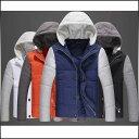 サイズ・カラー選べる 3点セット 大きいサイズ 中綿ブルゾン メンズ バイカラー フード付き 中ボア 細身 スリム アウター コート コーデ 紳士服