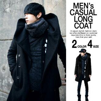 阿富汗大衣男式長袖長罩與溫暖按鈕休閒外套黑色海軍秋冬春季服裝