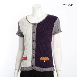 時間有限羊毛衫短上衣女士上衣製造的日本國內羅紋針織切換短袖羊毛衫女士短上衣外套 / * 福